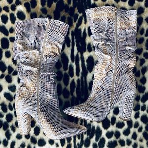 PrettyLittleThing snake print mid calf boots
